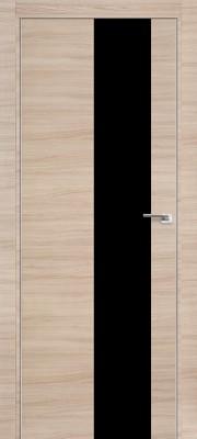 """Межкомнатная дверь """"5Z"""", по, капучино кроскут, черный лак"""
