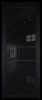 Межкомнатная дверь AG - 2 черный, черный триплекс