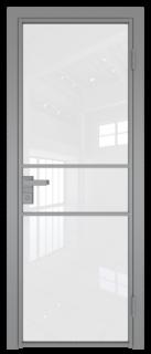 Межкомнатная дверь AG - 2 серый, белый триплекс