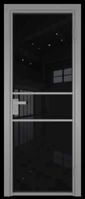 Межкомнатная дверь AG - 2 серый, черный триплекс