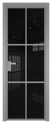 Межкомнатная дверь AG - 3 серый, черный триплекс