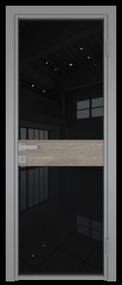 Межкомнатная дверь AG - 6 серый, черный триплекс
