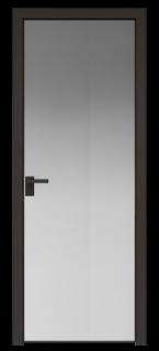 Межкомнатная дверь AGK - 1 черный матовый, стекло зеркало, кромка Black Edition с 4-х
