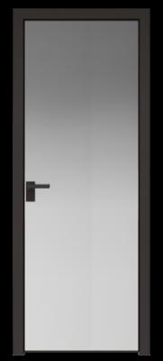 Межкомнатная дверь AGK - 1 черный матовый, стекло зеркало, кромка матовая алюминиевая