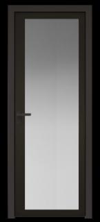 Межкомнатная дверь AGK - 2 черный матовый, стекло мателюкс черный, кромка Black Edition с 4-х