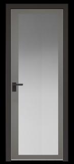 Межкомнатная дверь AGK - 2 черный матовый, стекло мателюкс серый, кромка матовая алюминиевая