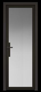 Межкомнатная дверь AGK - 3 черный матовый, стекло мателюкс черный, кромка Black Edition с 4-х