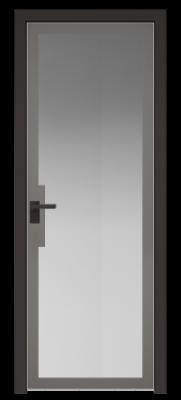 Межкомнатная дверь AGK - 3 черный матовый, стекло мателюкс серый, кромка матовая алюминиевая