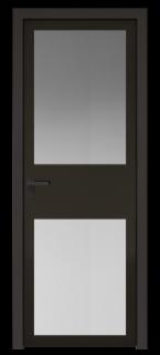 Межкомнатная дверь AGK - 4 черный матовый, стекло мателюкс черный, кромка Black Edition с 4-х