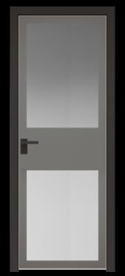 Межкомнатная дверь AGK - 4 черный матовый, стекло мателюкс серый, кромка матовая алюминиевая