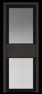 Межкомнатная дверь AGK - 5 черный матовый, стекло мателюкс черный, кромка Black Edition с 4-х