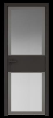 Межкомнатная дверь AGK - 5 черный матовый, стекло мателюкс серый, кромка матовая алюминиевая