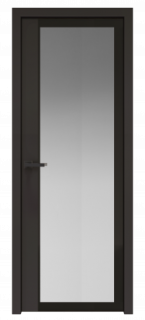 Межкомнатная дверь AGK - 6 черный матовый, стекло мателюкс черный, кромка Black Edition с 4-х