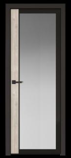 Межкомнатная дверь AGK - 6 черный матовый, стекло мателюкс серый, кромка матовая алюминиевая