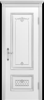 """Межкомнатная дверь """"Аккорд"""", пг, белый с патиной серебро"""