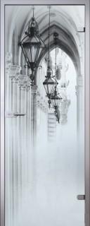Стеклянная дверь Аркада Белое Сатинато