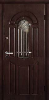 """Стальная дверь  """"Флора"""", орех коньяк"""