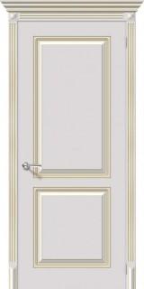 """Межкомнатная дверь """"Блюз"""", пг, белый с золотой патиной"""