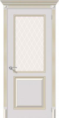 """Межкомнатная дверь """"Блюз"""", по, белый с золотой патиной"""