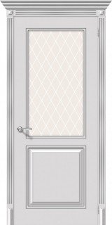 """Межкомнатная дверь """"Блюз"""", по, белый с серебряной патиной"""