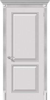 """Межкомнатная дверь """"Блюз"""", пг, белый с серебряной патиной"""