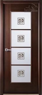 """Межкомнатная дверь """"Модерн люкс"""", по, венге  витраж"""