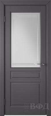 """Межкомнатная дверь """"Стокгольм"""", графит, стекло бел.сат. с гравир"""