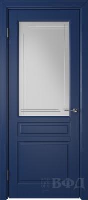 """Межкомнатная дверь """"Стокгольм"""", синий, стекло бел.сат. с гравир"""