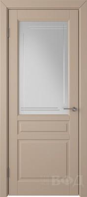 """Межкомнатная дверь """"Стокгольм"""", латте, стекло бел.сат. с гравир"""