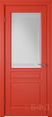 """Межкомнатная дверь """"Стокгольм"""", красный, стекло бел.сат. с гравир"""