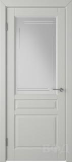 """Межкомнатная дверь """"Стокгольм"""", светло-серый, стекло бел.сат. с гравир"""