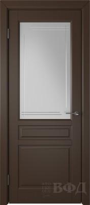 """Межкомнатная дверь """"Стокгольм"""", шоколад, стекло бел.сат. с гравир"""