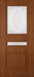 """Межкомнатная дверь ПВХ """"Трио"""", по, светлый орех"""