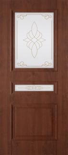 """Межкомнатная дверь ПВХ """"Трио"""", по, темный орех"""