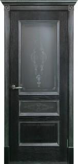 """Межкомнатная дверь """"Вена"""", по, черная патина с серебром"""